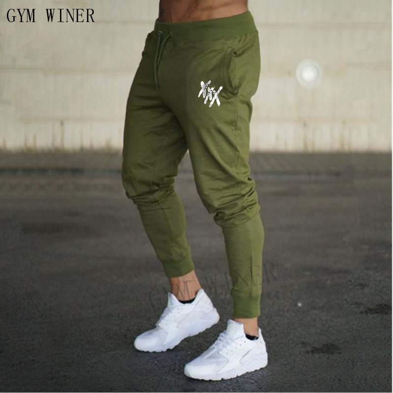 2018 Fall Men's Black Doodle Print Trousers Jogger Men's Pants Casual Slim Fit Men's Fitness Sweatpants Big Size Wholesale