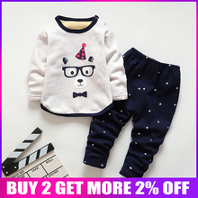 BibiCola kids sleepwear clothes sets children boys girls comfortable clothes kids winter warm thick shirts + pants pajamas