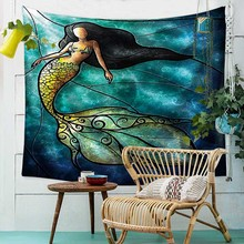 Boho Decoration Wall Mermaid Tapestry European Style Design Tapestry Wall Psychedelic Decor Christmas Wall Hanging Tapestry