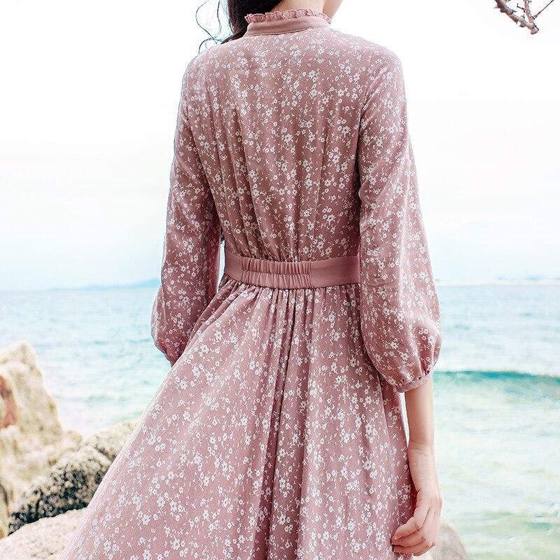Manches Jaune Robes 2019 Livraison Impression Lanterne Boshow Printemps Gratuite Fleur l Nouveau S Automne Et Elastique Maxi Taille Longue Rose 35AL4jRq