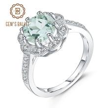 GEMS balet 2.04Ct naturalny zielony Prasiolite zaręczynowy obrączka dla kobiet oryginalne 925 srebro pierścionki Fine Jewelry