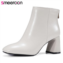 Smeeroon 2018 fashion style autumn winter women boots high quality high heels ankle boots top genuine leather boots недорго, оригинальная цена