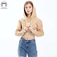 Margin Hight Street Arrival Autumn Fleece Sweatshirt Women Winter Thick Long Sleeve Casual Khaki Crop Hoodies