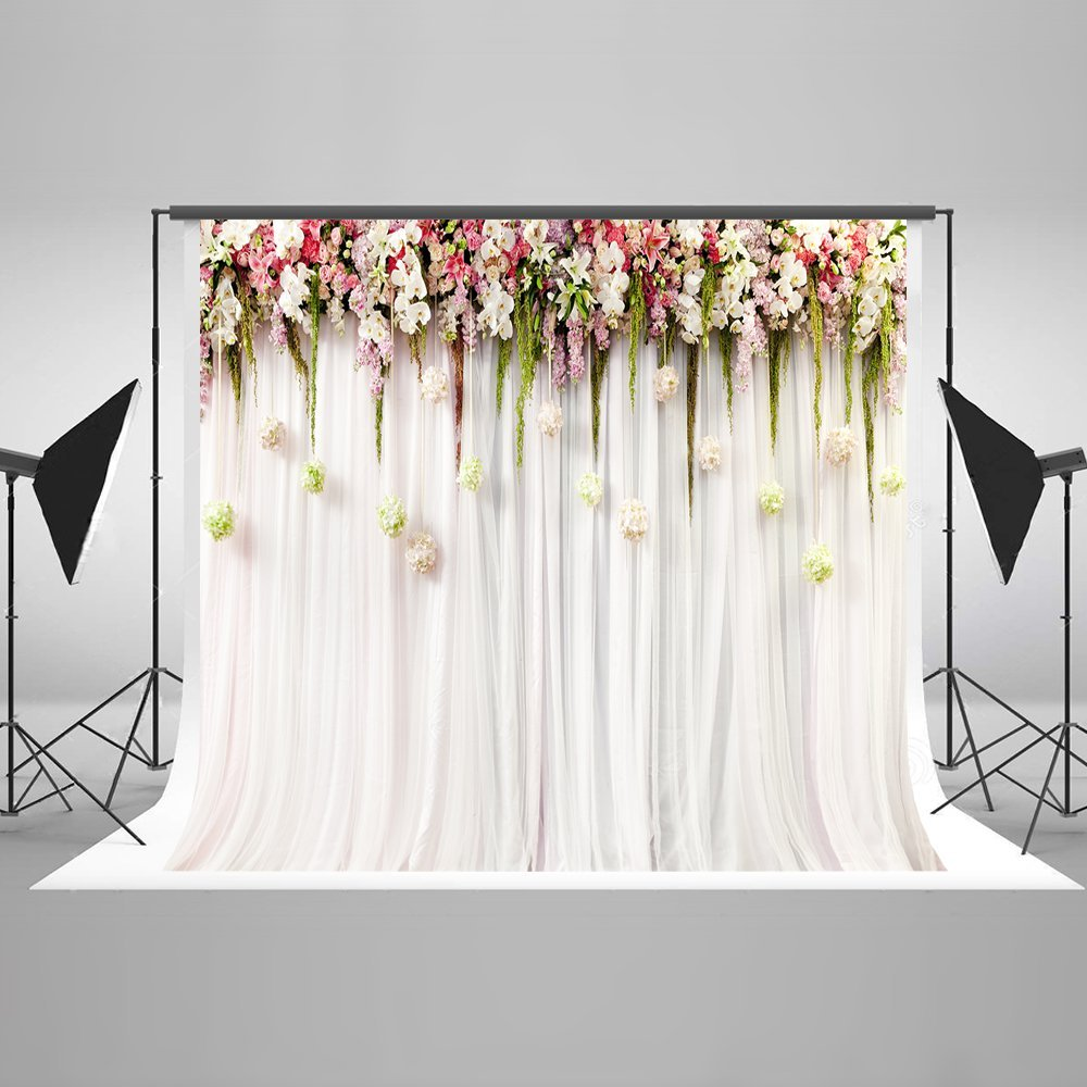 Pink Flower Leaves Curtains Backdrops Vinyl Cloth High Quality Computer Print Wedding