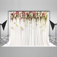 Pink Flower Leaves Curtains Backdrops Vinyl Cloth High Quality Computer Print Wedding Photography Studio Background