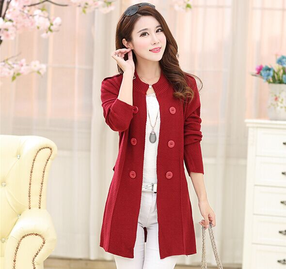 Quality Thick   Long Size Korea Style Mixed Woolen Cotton Knitting Lady  Cardigan Sweater Fashion Design Women Cardigan Sweater 2f5310b86