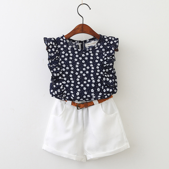 Girls Clothing Sets 2018 Summer Casual Style Girls Clothes flower T-shirt+ shorts 2Pcs Suit Kids Clothing Set Baby Girl Clothing conjuntos casuales para niñas