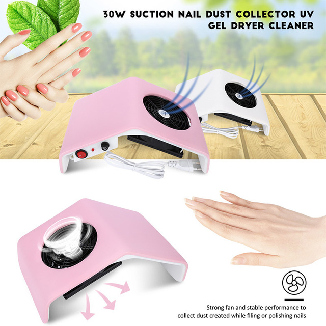 Gustala 220V/110V Nail Dryer Fan UV Gel Dryer Machine Nail Dust Collector Suction Dust Collector Vacuum 30W