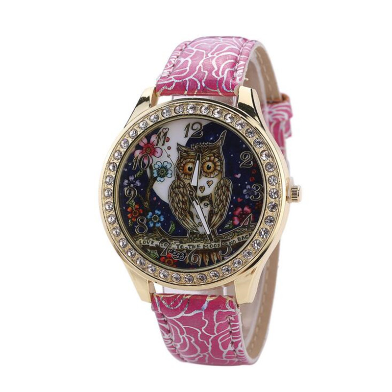 Relojes Mujer 2017 Night Sky Owl Girl Quartz Watch Rose Pattern Belt Ladies Watch Women Watches Reloj Mujer Bayan Saat Sport 35