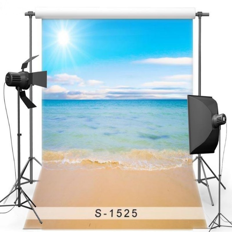 Sun Blue Sky White Clouds Ocean Sea Beach Backgrounds Vinyl cloth High quality Computer print children kids backdrops