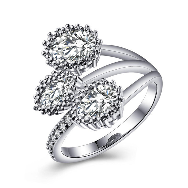 cfced21cbabbb US $2.23 |MISANANRYNE Silver Color Wonderful Shaped White Cubic Zirconia  with micro CZ Cluster Setting Engagement Ring For Women Size 7/8-in Wedding  ...