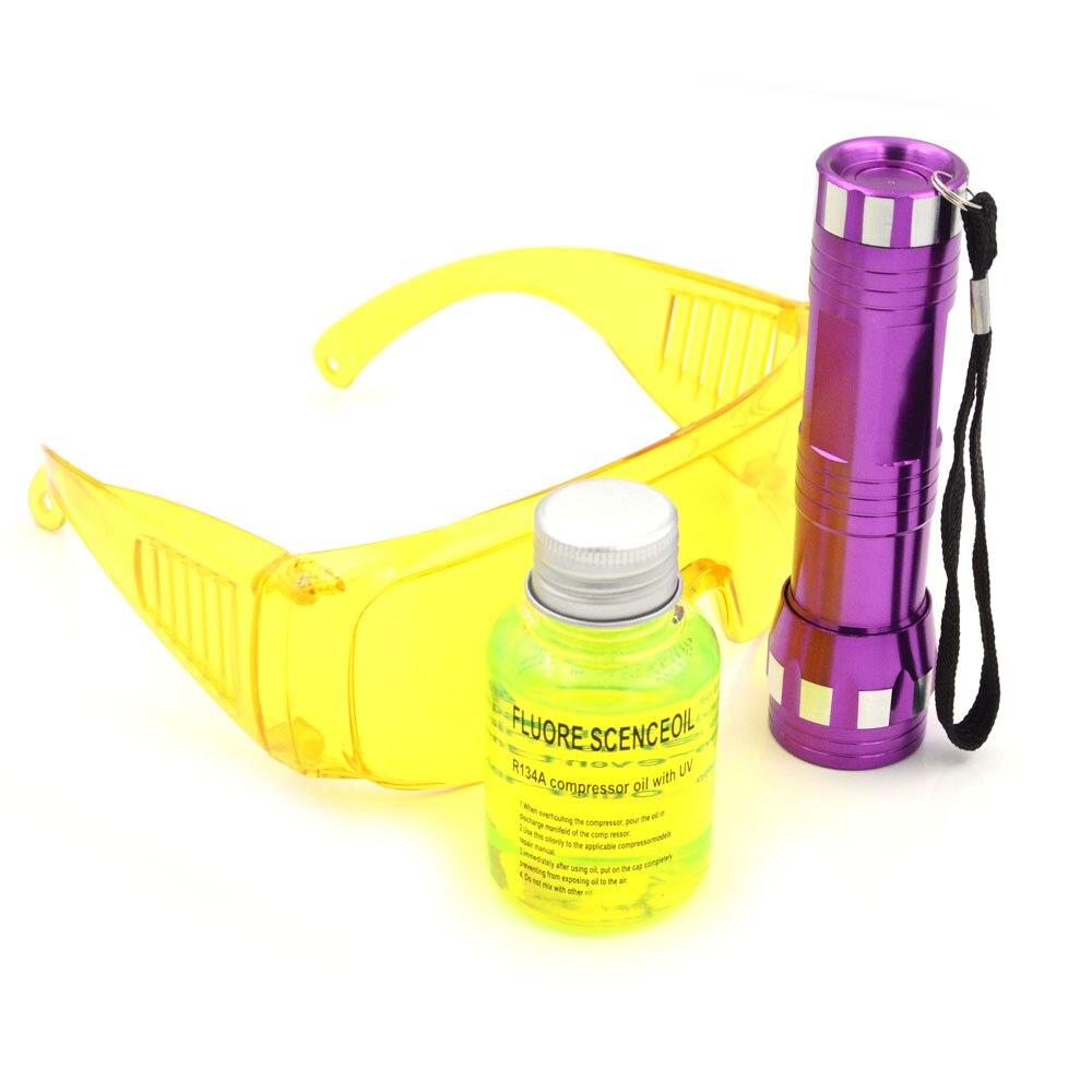 Gzhengtong Auto AC Parts UV Flashlight R134a R12 Car Fluorescent Oil Leak Glasses Automotive 14 LED Tool 40ml R134a Oil