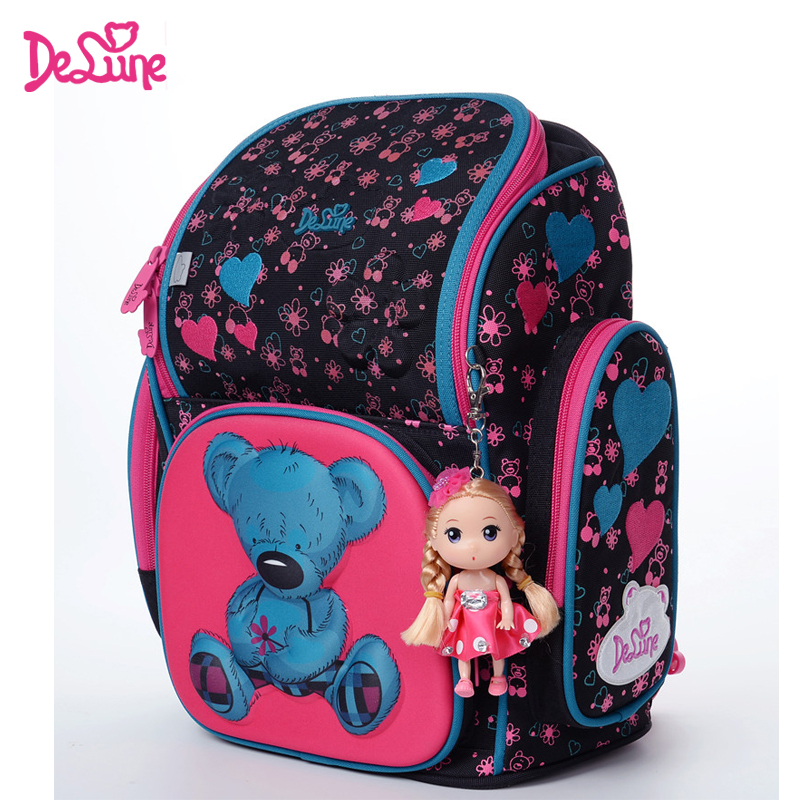 2017 Brand Delune New Girl School Bags 3D Cute Bear Flower Waterproof Orthopedic Backpack Schoolbag Primary Mochila Infantil coulomb princess star backpack for girl school bag orthopedic randoseru japanese pu hasp waterproof baby book bags 2017 new page 6