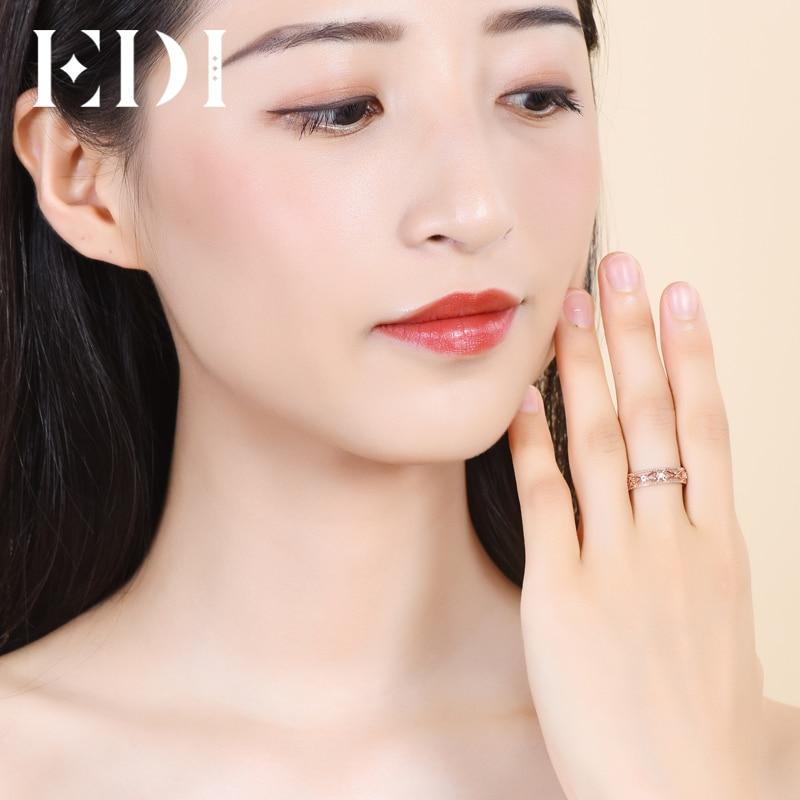 Bandas de oro rosa auténtico de 18 quilates de 0,02 cttw, anillos de boda de corte redondo para mujeres, diseño floral, regalos de joyería fina - 6