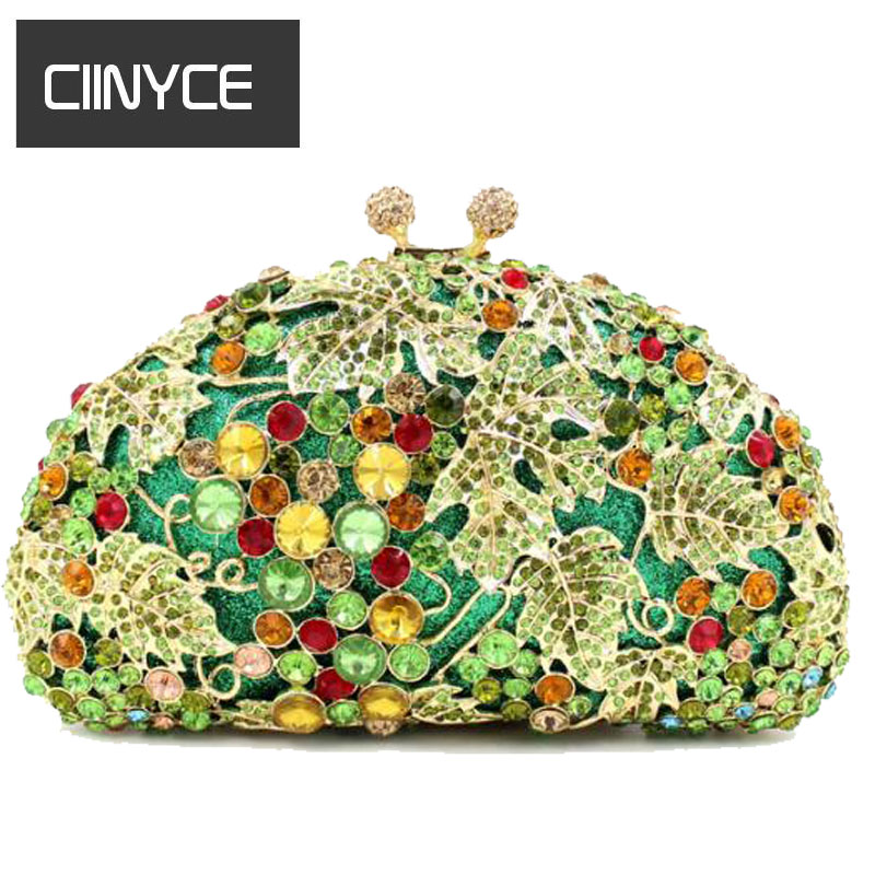 Metallic minaudiere Korean Clutch handbags Luxury crystal evening bags full diamond leaf women party wedding bride purse