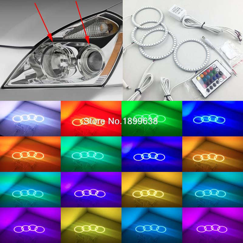 Super bright 7 color RGB LED Angel Eyes Kit with a remote control car styling for Kia Carnival Sedona 2006 2007 2008 2009 2010 4x xenon rgb remote multi color led angel eyes kit for bmw e90 2006 2008 e60