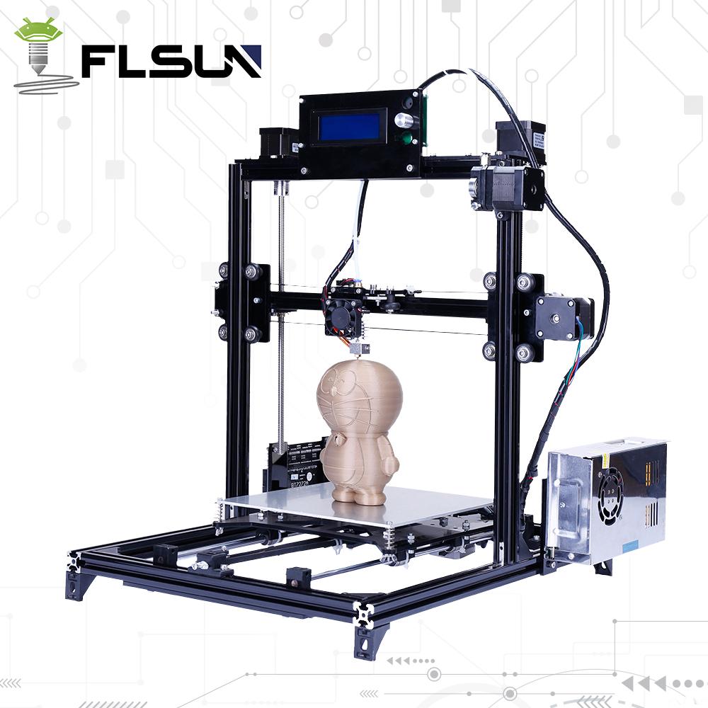 Prix pour 2017 New Aluminium Structure Flsun3D 3D Imprimante Auto-nivellement DIY Prusa i3 3D Imprimante Kit Chauffée Lit Deux Rolls Filament SD carte