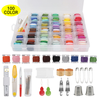 Handmade Embroidery Tools Set 100 Color Embroidery Threads 4 Metallic Threads Needles Scissors Sewing Knitting Accessories