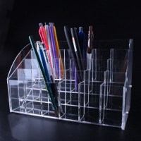 Urijk Penholder Acrylic Pen Storage Box Stationery Shop Penholder Display Pen Holder Cosmetics Holder Office Organizer