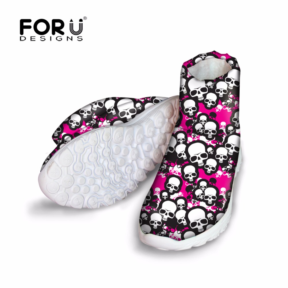 FORUDESIGNS Warm Women Snow Boots Cute 3D Skull Pattern Women's Casual Flats Shoes Female Fashion Winter Cotton Shoes Woman 2017