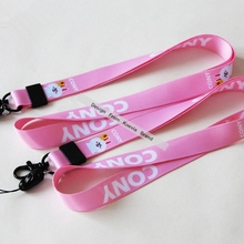 Пользовательский логотип розовый анимированный мультфильм шейный ремешок Ремешок для милого кролика дети ID карты ключи ремешки для мобильных телефонов