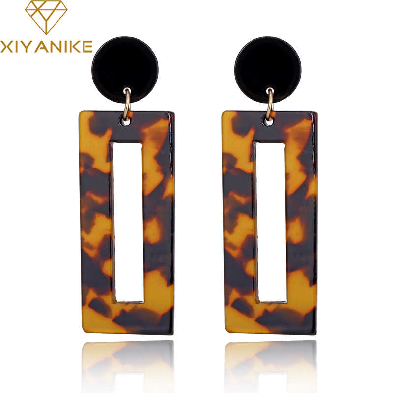XIYANIKE 2018 NEW Square Acrylic Drop Earrings For Girls Vintage Dangle Earrings For Women Jewelry Wholesale Birthday Gift E717
