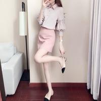 الأزياء الكورية نمط المرأة اثنان قطعة تعيين طويلة الأكمام قمصان قمم + الوردي البسيطة تنورة عالية الجودة مكتب عارضة مثير سيدة دعوى