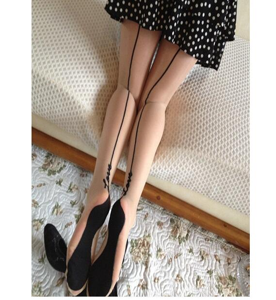 Tights Tigh English Love Letter Tattoo Women Lady Girl Stockings Pantyhose