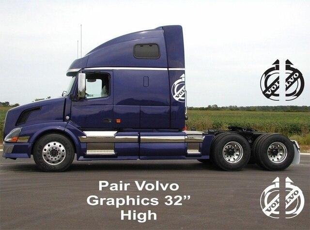 8748f0b289 For 2Pcs Pair volvo semi truck graphics vinyl decal 2pcs large 32