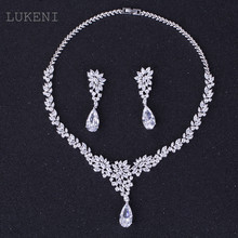 LUKENI New Luxurious Europe Style White Color AAA Zircon Geometric Flowers Earrings And Chain Necklaces Wedding Jewelry Sets