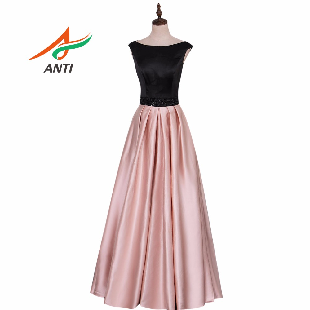 ANTI Fashion Sashes beading Evening Dress Long Pink and Black Satin Beading Evening Gowns High-quality Draped Party Dresses(China)