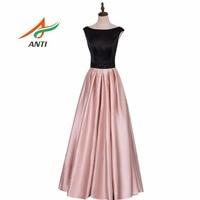 ANTI Cor Da Pele de Moda de Alta Qualidade vestido Longo Vestido de Noite de Cetim Formal vestidos Rosa Preto Elegante Vestidos de Noite Vestido de Festa Barato