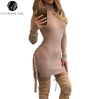 Lily Rosie Girl Pink Knitted Sexy Split Women Sweater Dresses Long Sleeve Mini Bodycon Dress 2017