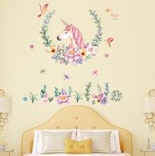 Cartoon Unicorn and Flowers Wall Sticker