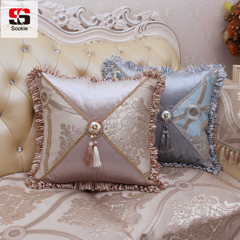 Sookie European Style Decorative Pillow Case Luxury Cotton Linen Cushion Cover For Sofa Pillowcases Cover Throw Home Decor