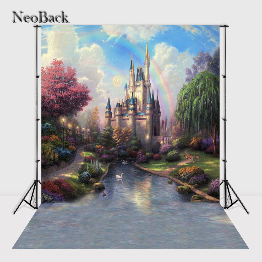 NeoBack 5x7 Vinyl Cloth Fairy Castle Photography Backdrop Photo Studio Prop Backdrop Printed New Born Children Backgrounds P2444