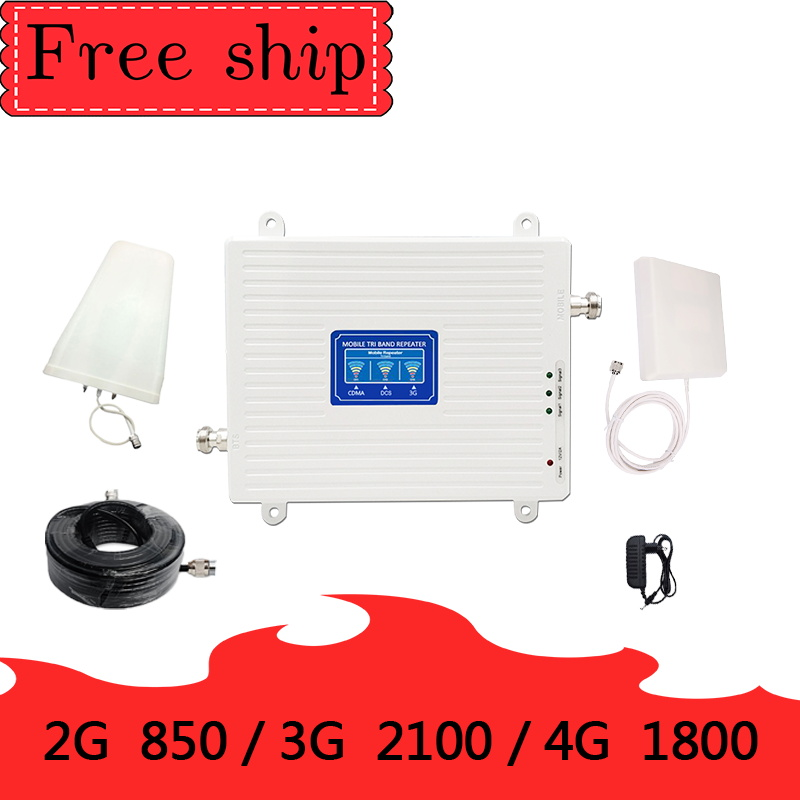 70dB Gain 2g 3g 4g Tri Band Signal Booster <font><b>850</b></font> 1800 <font><b>2100</b></font> CDMA WCDMA UMTS LTE Cellular Repeater <font><b>850</b></font>/1800/2100mhz Amplifier image