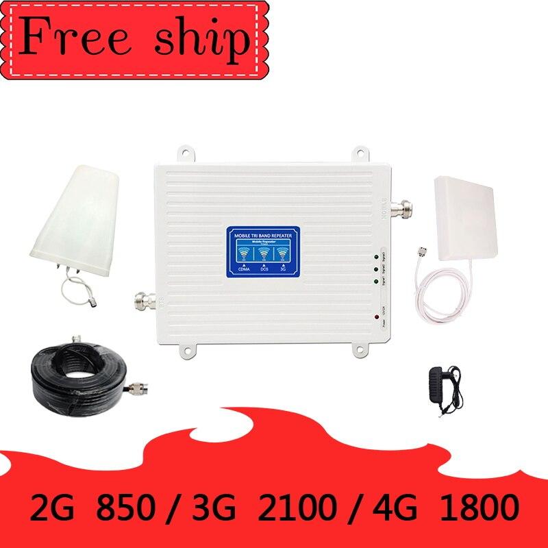 70dB ganar 2g 3g 4g Tri banda de señal de 850, 1800 de 2100 CDMA WCDMA UMTS LTE amplificador repetidor 850/1800/2100mhz