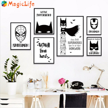 Modern Superhero Batman Spiderman Decor Wall Art Canvas Painting Poster Pictures For Kids Boy Room Black White