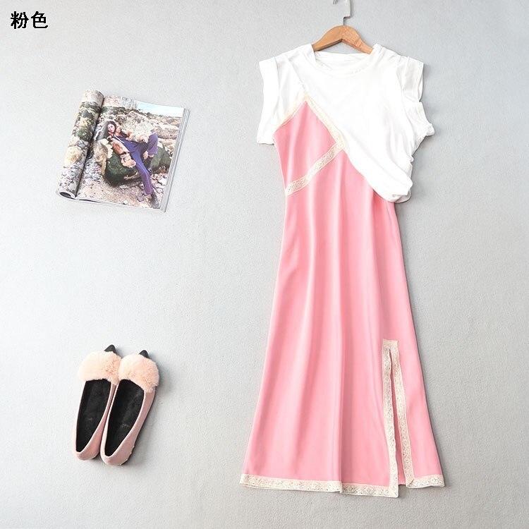 Nouvelle robe 217167 tenue en été de 2018 ensembles col rond sans manches robes