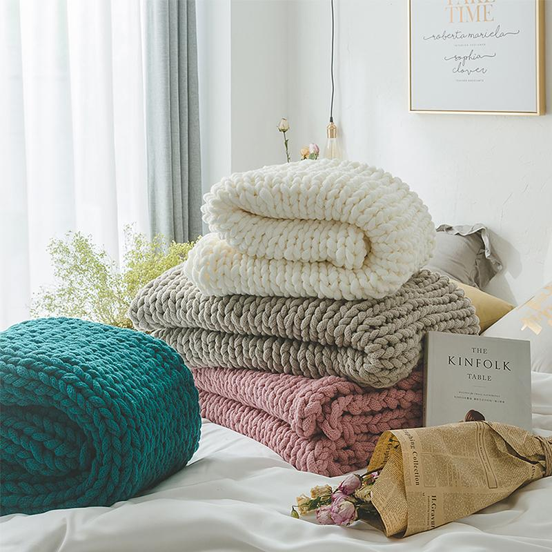 Handmade Chunky Knitted Blanket Thick Yarn Merino Bulky Knitted Blanket Warm Winter Sofa Bed Home Decor Throws Blanket 130*160cm