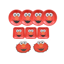 Elmo Theme Party Decoration Seasame Street Elmo Disposable Tableware sets Birthday Party Kid For Child Supplies
