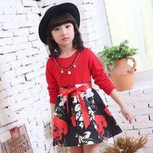 Девушки Новая Весна Принцесса Весна Платье Дети Одежда Красный Черный Бисероплетение Цветы Печать