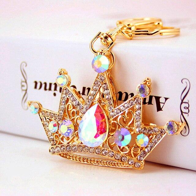 Adojewello biżuteria duża kryształowa korona brelok Rhinestone brelok do samochodu Chram brelok kreatywny prezent dla dziewczyny hurt