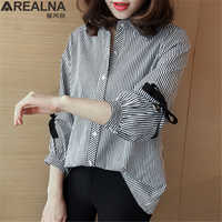 Más el tamaño De las mujeres De camisa a rayas Blusas De Mujer De Moda 2019 Kimono De encaje arco suelto Mujer Tops y Blusas trabajo de camisas