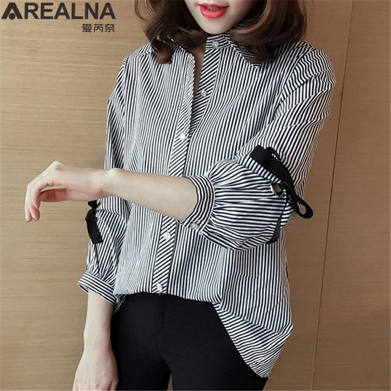 Plus Size Camisa Listrada Blusas Mujer de Moda 2019 Quimono das Mulheres Lace Up Bow Solto Tops e Blusas Das Mulheres trabalho Camisas De Grandes Dimensões