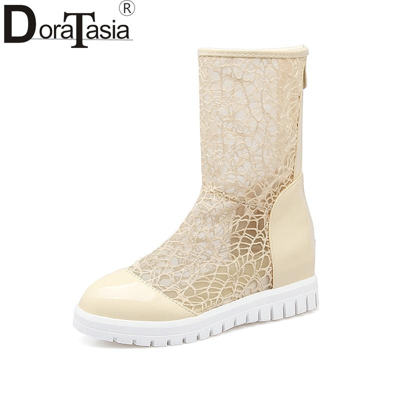 DoraTasia 2018 New Zip Up Summer Boots Women Shoes Woman Increasing Heel Platform Black Woman Shoes Large Size 33-43