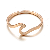 docona Antique Rose Gold Silver Wave Rings for Women Simple Metal Surfer Midi Ring Knuckle Surf Rings Ocean Wire Ring 5740 4