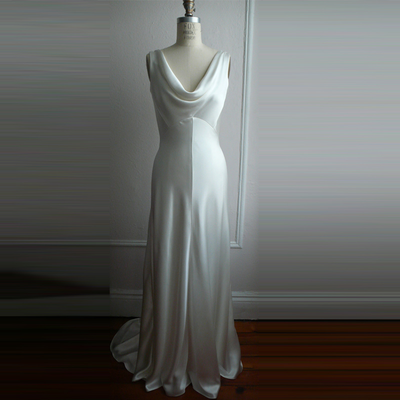 Cowl Neck Wedding Dresses Whimsical: 1930's Glamor Style Wedding Dresses Ivory Front Neckline