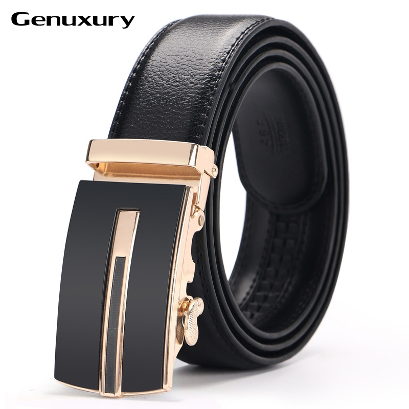 Genuxury 100% high quality soft coffee luxury jeans black belts men automatic buckle for man
